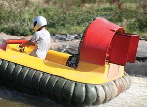 A picture of someone hovercrafting