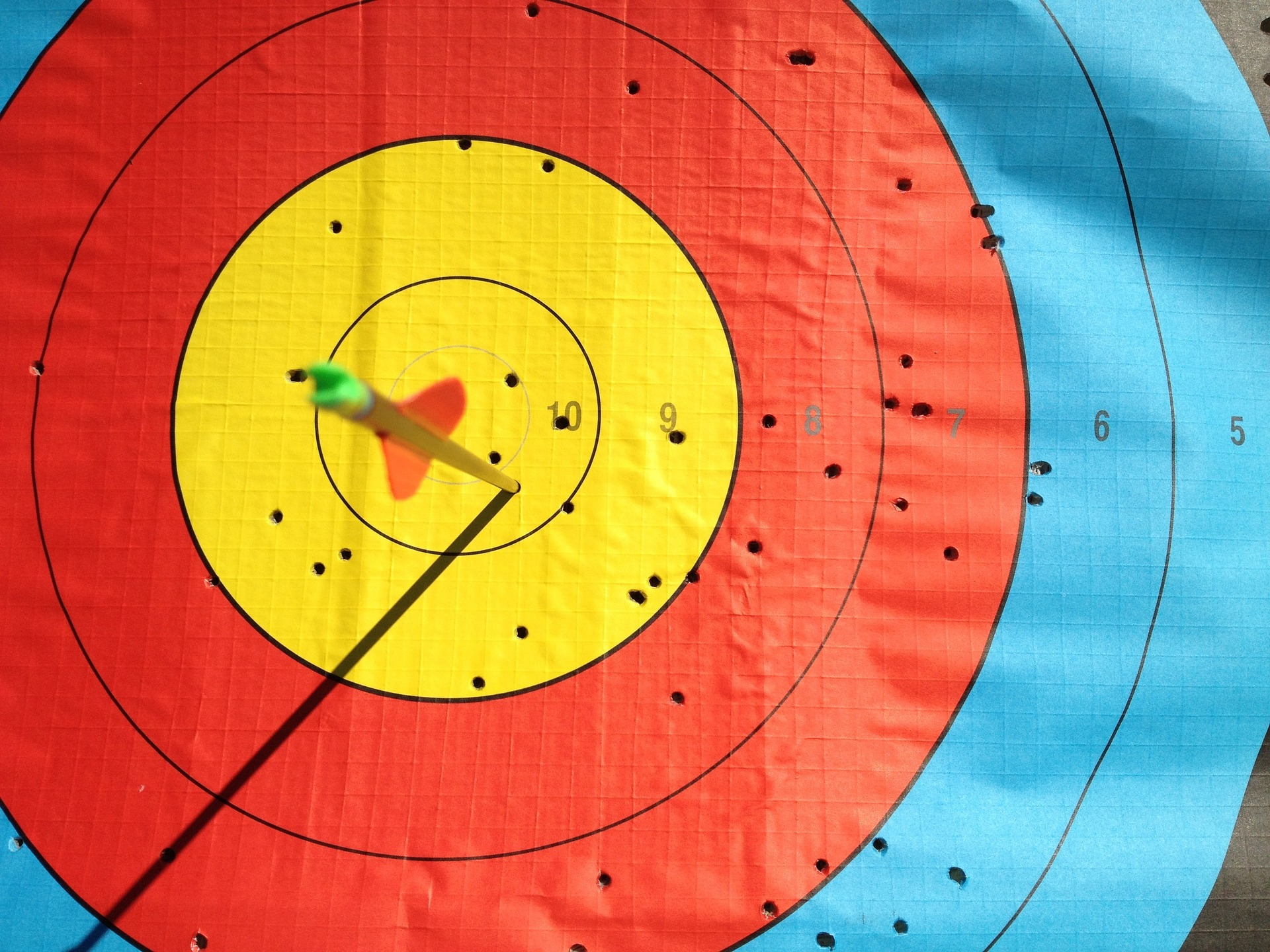 A close up picture of an archery target
